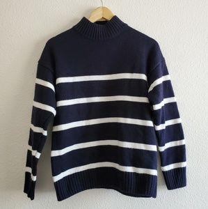 Korean Style Women's Striped Turtleneck Navy